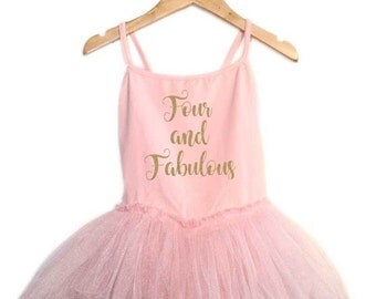 Four and Fabulous birthday leotard tutu dress glitter sparkle ballet pink ballerina dress ballerina birthday outfit