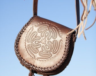 "Leather Bag ""Labyrinth""; Medieval Pouch; Fantasy Leather Bag; Medium bag"
