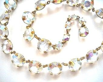 Vintage Czech Bohemian Glass Crystal Rhinestone Necklace