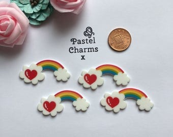 Pack of 5 rainbow heart embellishments