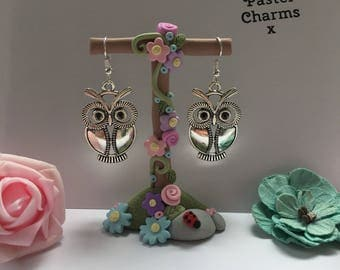 Large owl earrings , with gift box  x