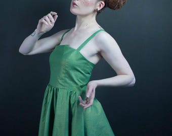 the buttercup in Japanese green and gold fabric dress