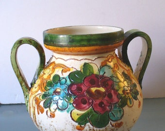 Vintage Made in Italy Sgrafitto Urn Vase