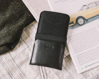 "Wallet, fits Samsung Galaxy S6, premium leather, german wool felt, ""Kangaroo"""