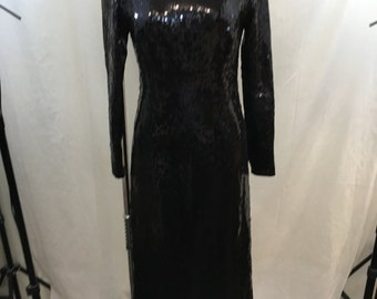 VINTAGE Black Sequin Long Sleeve High Neck Full Length Gown Size Small