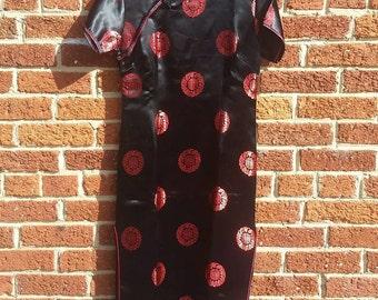 Vintage 1980s 90s Black Red Cheongsam Dress Full Length // Satin Asian Print