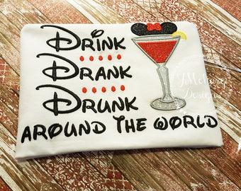 Drink Drank Drunk Disney-Inspired Birthday Shirt -  21st Birthday  - Custom Birthday Tee 704 white