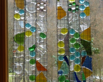 2 Transparent, Contemporary Abstract Glass Panels, Recycle glass window panel, Blue, Green, Yellow, 31.1 x 6.69 inches each