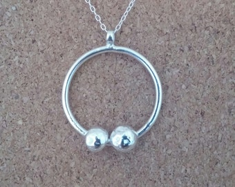 Pebble necklace, Recycled necklace, Silver necklace, Hoop necklace, Pebble jewellery, Pebble pendant, Gift for girlfriend, pebble