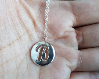 Letter B necklace  Name necklace Personalised pendant Letter B Letter Initial necklace Silver necklace Initial jewelry