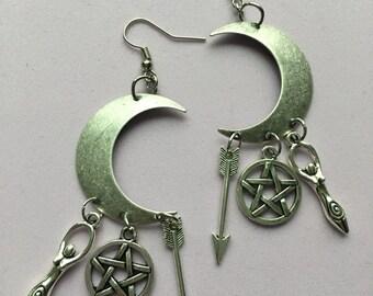Goddess Dangle Earrings - Cresent Moon, Silver, Pentacle, Goddess, Arrow