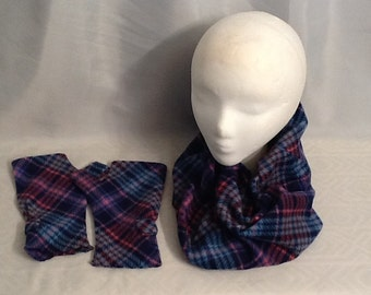 Pink, Purple Plaid Fleece Cowl and Fingerless gloves
