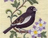 Colorado State Bird Lark Bunting Embroidered Towel | Flour Sack Towel | Linen Towel | Dish Towel | Kitchen Towel | Hand Towel | Embroidery
