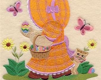 Sunbonnet Sue Egg Hunt Embroidered Towel | Flour Sack Towel | Linen Towel | Dish Towel | Kitchen Towel | Hand Towel | Embroidery