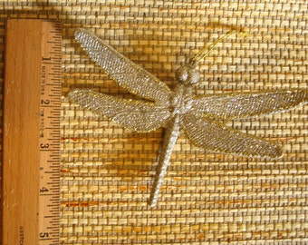 Silver Glittered Dragonflies, set of five
