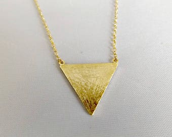 Triangle necklace, geometric necklace, triangle jewelry, geometric jewelry, gold triangle, simple necklace, layering necklace