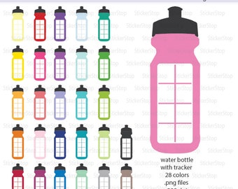 Water Bottles with Tracker Icon Digital Clipart in Rainbow Colors - Instant download PNG files