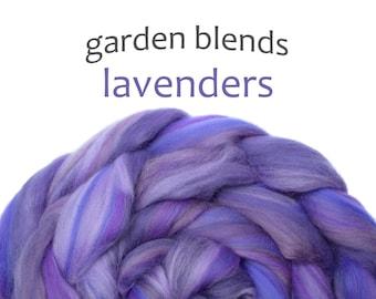 Blended Merino tops - spinning fiber - 100g/3.5oz - purples - Garden Blends - LAVENDERS