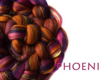 PHOENIX - blended tops-sparkle-Merino-Mulberry silk-Firestar-purple-pink-100g/3.5oz