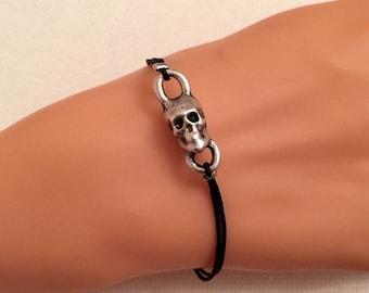 Silver Skull Bracelet, Skeleton Head Bracelet, Bone Charm, Rock, Black Cord, Silver Charm Bracelet, Casual, Birthday Gift