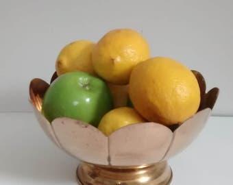 Vintage Scalloped Brass Pedestal Bowl
