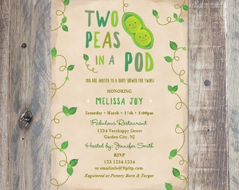 custom baby shower invitation twins baby shower two peas in a pod