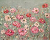 KADLIC Original Oil Painting French PINK Floral Poppies Abstract Modern Landscape Impressionism Poppy Art 24x20