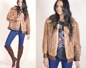 VINTAGE 70s Honey Mink Fur Hippie Boho Festival Coachella Jacket Coat
