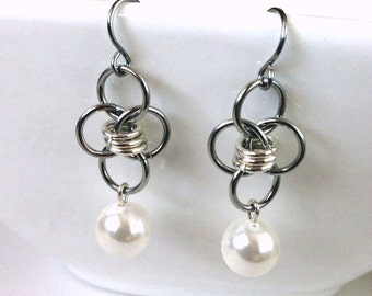 Chainmaille Earrings Stainless Steel Jewelry Pearl Dangle Earrings Chainmail Jewelry Crystal Pearl Jewelry