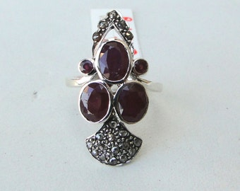 Victorian Diamond & Ruby 925 Sterling Silver Finger Ring