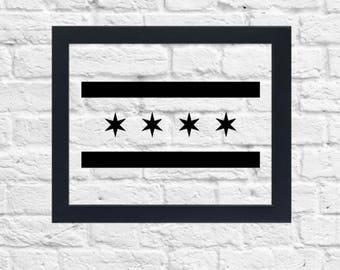 Chicago Flag Print, Floating Frame, 8x10