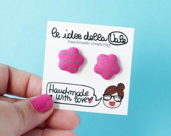 Star Earrings - Polka dots - Dark Pink and Green