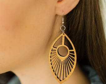 Wood Spoke Earrings from Reclaimed Mahogany