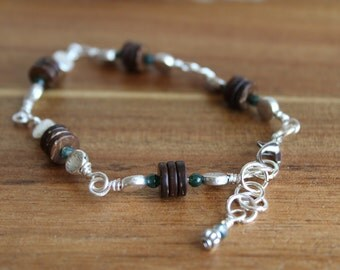 Coconut shell, silver, and czech glass bracelet
