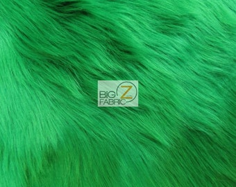 """Solid Shaggy Faux Fur Fabric - EMERALD GREEN - Sold By The Yard 60"""" Width Costumes Accessories Clothing"""