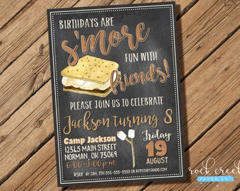 S'mores Chalkboard Invitation, S'mores Birthday Invitation, Bonfire Birthday Party, S'mores Bonfire, Digital Printable Birthday Invitation