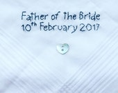 Hand Embroidered Father of the Bride with Date Cotton Handkerchief