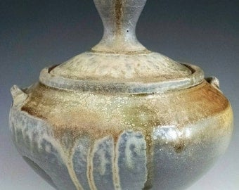 Lidded Wood-fired Jar.  Free Shipping To the Lower 48 States.