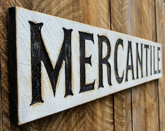 Mercantile Carved X-Large Sign- 6 Feet by 1 Foot Modern Farmhouse Vintage Style Advertisement Piece