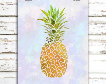 Watercolor Pineapple on Blue Background Wall Art Printable | Printable Wall Art | You Print At Home | Instant Digital Download | PDF File