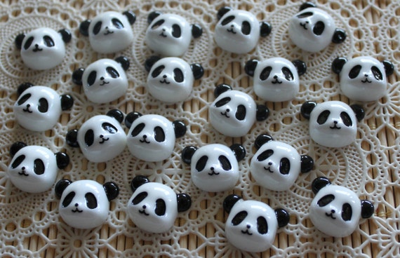 6 Pieces. Resin Flatback Cabochons 22mm Panda Faces