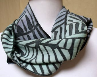 Silk Scarf Accessory Hand Painted- Unisex-Art to Wear- Japanese design-unique gift under 50- made in the Hudson Valley NY