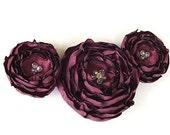 For Suzette - Custom Order Burgundy Fabric Flower Pendant