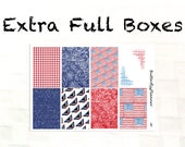 Extra Full Box Stickers for the Erin Condren & Happy Planner, Patriotic Collection, July 4th Planner Stickers, Decorative Boxes