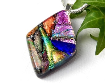 Mixed Color Dichroic Glass Diamond Shape Pendant, Random Art Glass Necklace, Fused Glass Jewelry, Multicolor Glass Pendant, Best Friend Gift