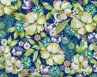 FREE SHIPPING - Pretty as a Peacock fabric - Floral - blue teal green purple flowers metallic gold - Quilting Treasures - continuous YARDS