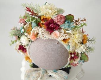 Vintage Lace Bonnet, Flower Bonnet, Floral Bonnet, Garden Bonnet, Sitter Bonnet, Baby hat, Baby Photo Prop, Newborn Photo Prop