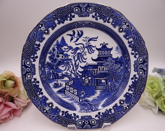Near Mint Vintage 1930s Burleigh & Leigh English Bone China Blue and White Willow Ware Dinner Plate
