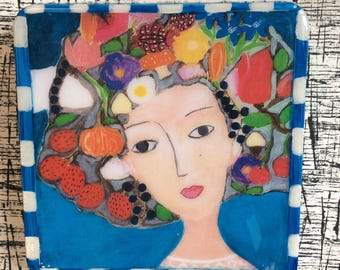 Handmade Mixed Medium on Plaster Tile/ Modern Art/ Painting/ Portrait/Original/Collectibles/Mix Media/Collage/Her name is Rose