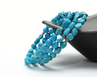 Genuine Blue Turquoise Bracelet - Turquoise Nugget Memory Wire Bracelet with Thai Pure Silver Accents - December Birthstone Jewelry